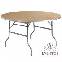 Wood Round Table Rental 60""