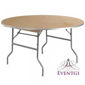 "Wood Round Table Rental 60"""